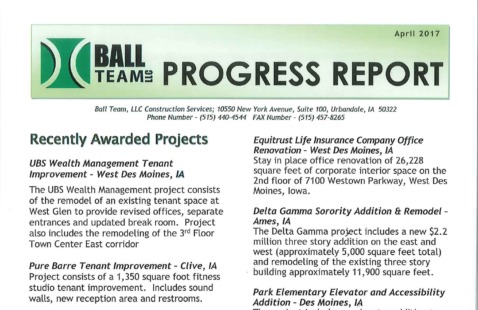 Ball Team April 2017 Progress Report