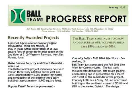 Ball Team January 2017 Progress Report